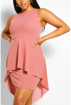 Blush pink Plus Peplum Midi Dress
