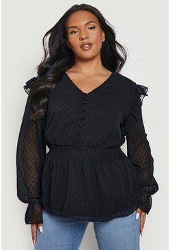 Black Plus Dobby Mesh Shirred Smock Top