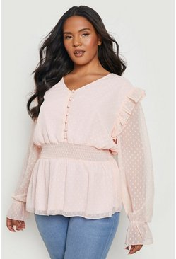 Blush pink Plus Dobby Mesh Shirred Smock Top