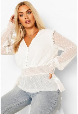 Ivory white Plus Dobby Mesh Shirred Smock Top