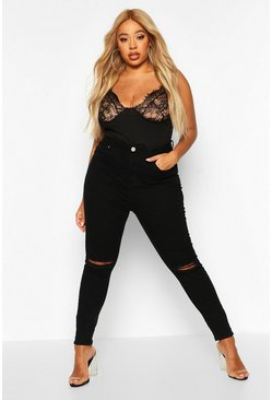 Black Plus Rip Knee Skinny Jegging