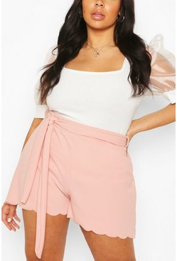 Blush pink Plus Scallop Edge Tailored Short