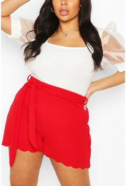 Red Plus Scallop Edge Tailored Short