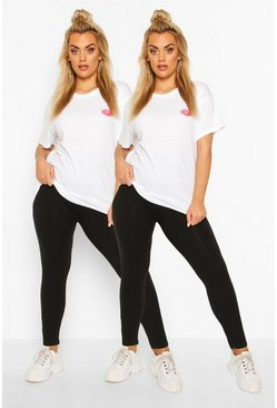 Black Plus 2 Pack Basic Cotton Mix Leggings