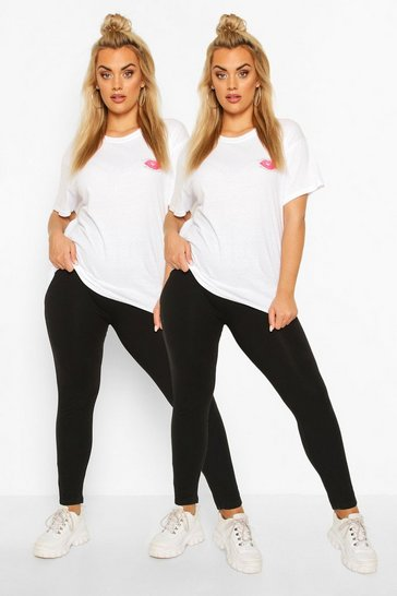 Black Plus 2 Pack Basic Cotton Mix Leggings