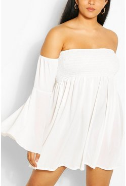 White Plus Shirred Off Shoulder Wide Sleeve Shift Dress