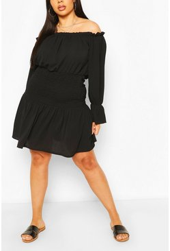 Black Plus Off The Shoulder Shirred Sun Dress