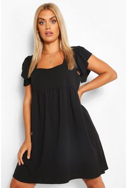 Black Plus Ruffle Sleeve Smock Dress