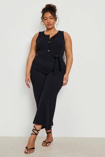 Black Plus Linen Look Button Belt Jumpsuit