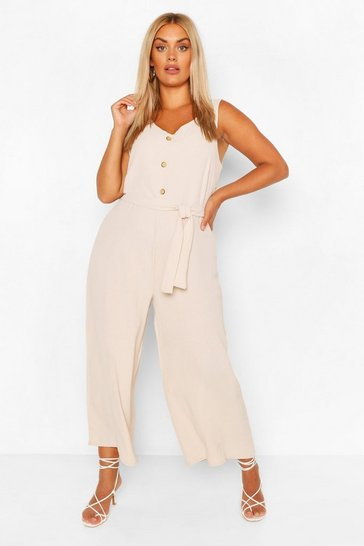 Stone beige Plus Linen Look Button Belt Jumpsuit