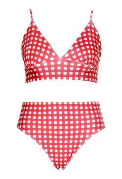 Red Plus Gingham Print Triangle High Leg Bikini