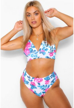 Pink Plus Floral Rose Triangle High Leg Bikini