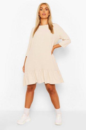 Stone beige Plus Linen Look Ruffle Hem Shift Dress