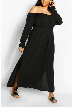 Stone Plus Off The Shoulder Crepe Maxi Dress