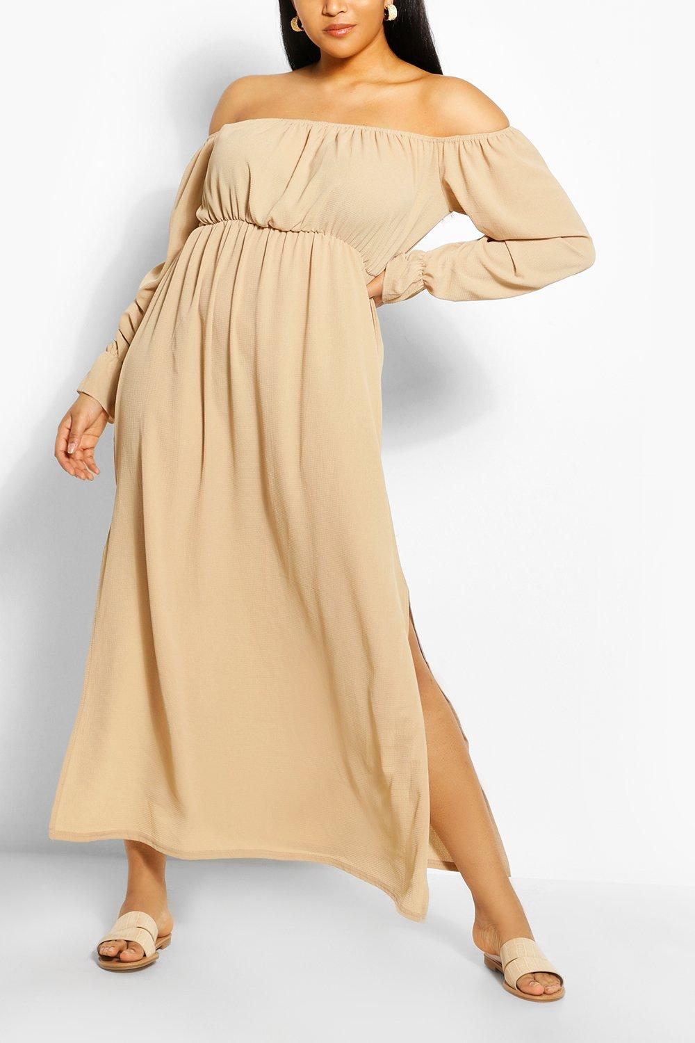 Plus Off The Shoulder Crepe Maxi Dress 6
