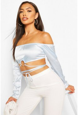 Sky blue Petite Satin Ring Front Tie Crop Top