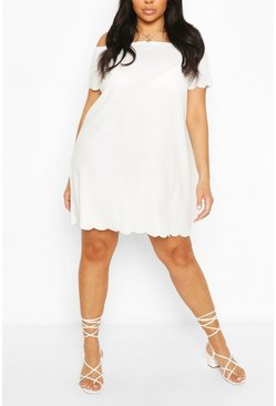 Ivory white Plus Off The Shoulder Scallop Shift Dress