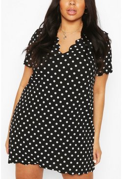 Black Plus Polka Dot Scallop V-neck Shift Dress
