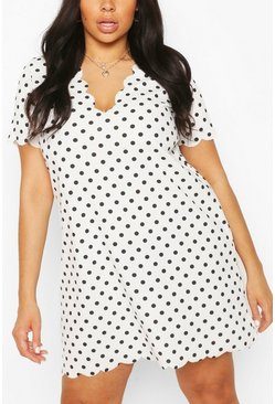 Ivory white Plus Polka Dot Scallop V-neck Shift Dress