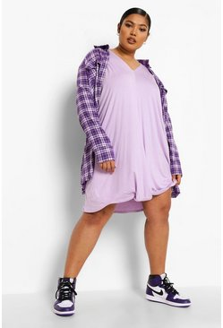 Lilac purple Plus Oversized Knot Front Jersey Tee Dress
