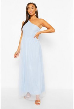 Pale blue blue Petite Occasion One Shoulder Maxi Dress
