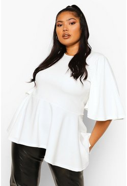 Ivory white Plus Angel Sleeve Peplum Top