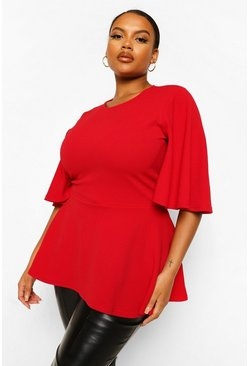 Red Plus Angel Sleeve Peplum Top