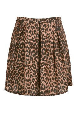 Brown Plus Leopard Print Box Pleat Skater Skirt