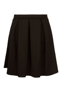 Black Plus Box Pleat Skater Skirt