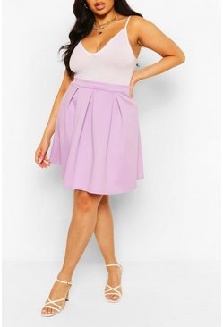 Lilac purple Plus Box Pleat Skater Skirt
