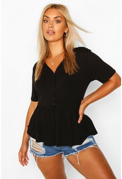 Black Plus Button Through Short Sleeve Smock Top
