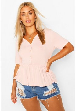 Blush pink Plus Button Through Short Sleeve Smock Top