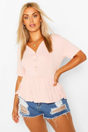 Blush pink Nude Plus Button Through Short Sleeve Smock Top