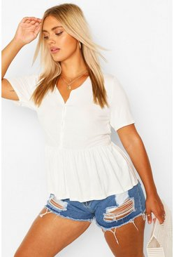 Ivory Plus Button Through Short Sleeve Smock Top