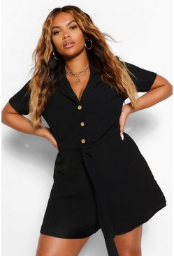 Black Plus Button Through Playsuit