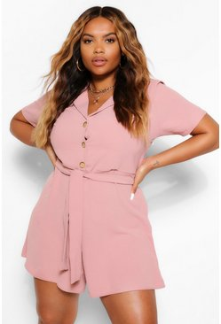 Dusky pink pink Plus Button Through Playsuit
