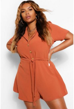 Terracotta orange Plus Button Through Playsuit