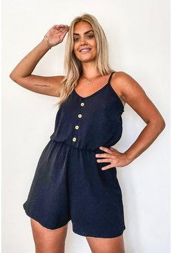 Black Plus Button Front Playsuit