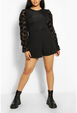 Black Plus Polka Dot Organza Mesh Playsuit