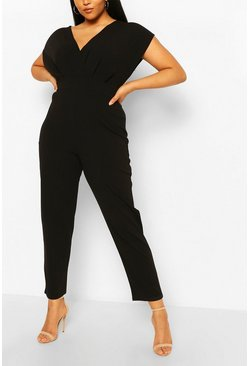 Black Plus Off The Shoulder Wrap Belted Jumpsuit