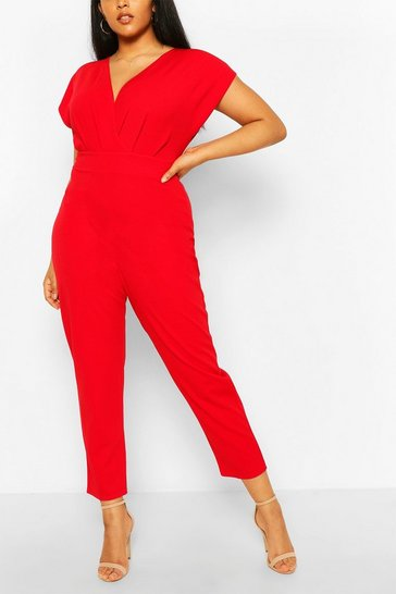 Red Plus Off The Shoulder Wrap Belted Jumpsuit