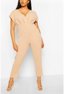Stone beige Plus Off The Shoulder Wrap Belted Jumpsuit