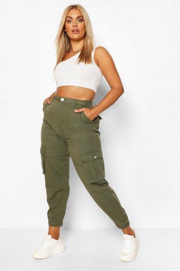 Plus Khaki Cargo Jeans