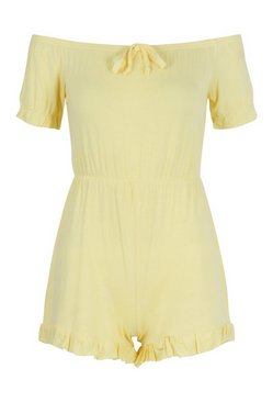Lemon Petite Off Shoulder Frill Hem Flippy Playsuit