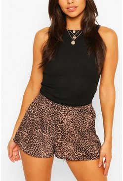 Brown Petite Leopard Rib Flippy Shorts