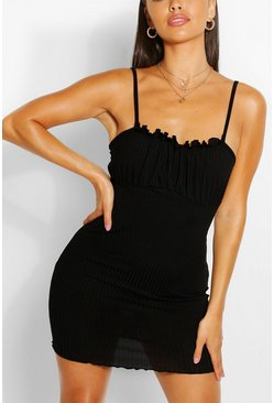 Black Petite Rib Square Neck Bodycon Dress