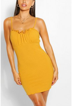 Mustard Petite Rib Square Neck Bodycon Dress
