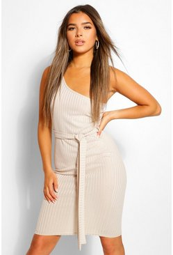 Stone beige Petite One Shoulder Belted Rib Midi Dress