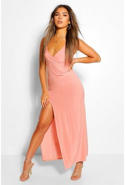 Rose Petite Wrap Front Slinky Maxi Dress