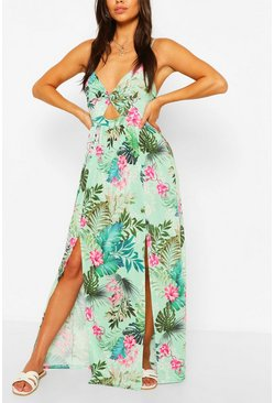 Green Petite Twist Front Tropical Print Maxi Dress